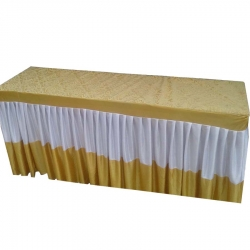 18 X 72 Inch Designer Table Cloth / Table Cover For Rectangular Table; Made Of Premium Quality Lycra & Velvet ; Yellow & Cream Color.