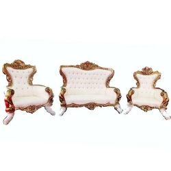 White Color - Heavy - Udaipur - Sofa Set - Wedding Sofa Set - Couches - Made Of Wooden & Brass Metal - 1 Sofa & 1 Pair of Chair ( 2 Chair )