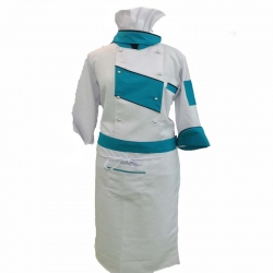 Cotton Heavy Kitchen Apron Set Shirt - Apron With Cap Dark - White & Sky Blue Color