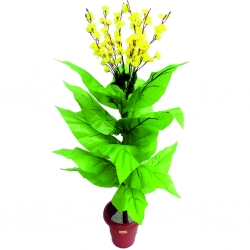 3.5 FT - Artificial Plastic Flower Plant - Flower Tree with Pot - Green & Yellow Color