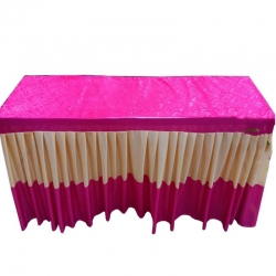 1.5 FT X 6 FT - Rectangular Table Cover - Made of Premium Quality Brite Lycra with Velvet on Top - Color Pink & Cream