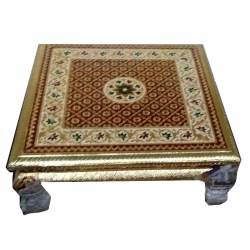18 Inch X 18 Inch - Multicolor - Puja Chowki - Pata - Chowki - Chaurang - Bajoth - Made of Wooden & Brass Metal .