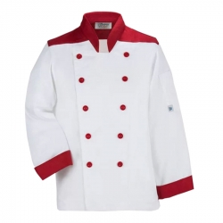 Chef Coat - Full Sleeves - Made Of Premium Quality Cotton - Piping Trim & Buttons.