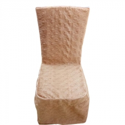 Heavy Velvet Embossed Chair Cover With Piping - Light Brown Color