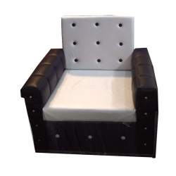 Single Seater Sofa Chair - VIP Chair - White & Brown Color