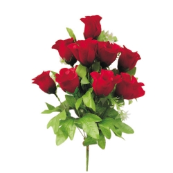 10 Inch - Artificial Plastic Rose Flower Bunches - Flower Decoration - Red & Green Color