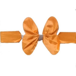Chair Cover Flower Bow For Wedding Function - Orange Color.
