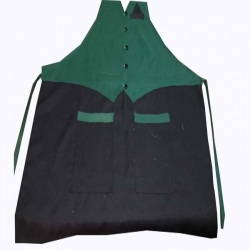 Jacket Cotton Kitchen Apron With Front Pocket  Black & Green  Color