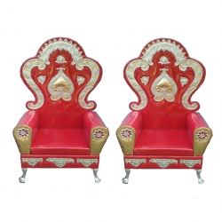Wedding Reception Sofa - Varmala Sofa - Made Of Wood And Metal - Pair Of 1 (2 Pieces) Red Color .