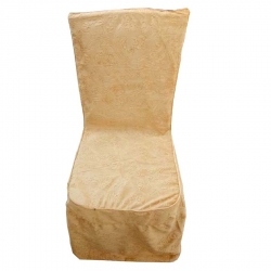 Heavy Velvet Embossed Chair Cover With Piping Golden Color .