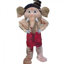 Cartoon Costume - Ganesh ji  Character Mascot - Party Mascot - Made Of High Quality Plush Material - Pack Of 1 - Cream Color