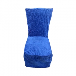 Heavy Velvet Embossed Chair Cover With Piping - Light Blue Color.