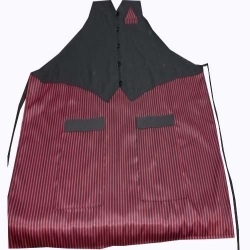 Jacket Cotton Kitchen Apron With Front Pocket - Maroon & Black Color