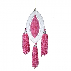 18 INCH - Fur Jhumar - Hanging Jhumar - Wall Hanging - White & Pink Color