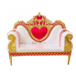 Pink & White Color - Regular - Couches - Sofa - Wedding Sofa - Maharaja Sofa - Wedding Couches - Made of Wooden & Metal
