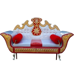 Wooden Sofa - Wedding Reception Sofa - Regular Couches - White & Red Color.