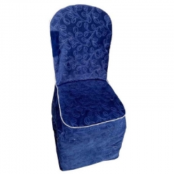 Heavy Velvet Embossed Chair Cover With Piping - Light Blue Color