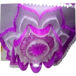 Designer Mandap Ceiling Cloth - Design Brite Lycra Cloth - Pink & White Color