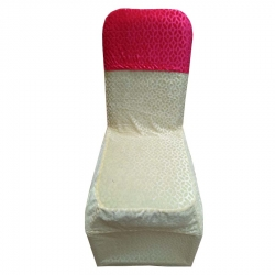 Velvet Chair Cover Bow For Wedding Function - Pink Color.