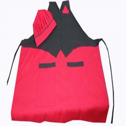 Jacket Cotton Kitchen Apron With Front Pocket Red & Black Color with cap