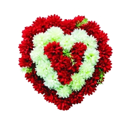 2 FT X 2 FT - Artificial Plastic Heart Flower Bouquet - Flower Decoration - Multi Color