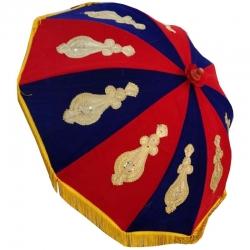 4 FT - Gold Finish Fancy Decorative Umbrella - Wedding Umbrella - Nevi Blue & Red Color