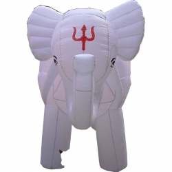 White Color - Elephant - Inflatable - Elephant - Air blown Inflatable - Made of PVC Vinyl comes with a Blower Machine