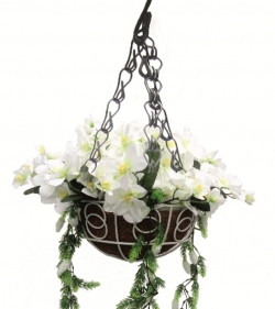 2 FT - Artificial Flower Hanging Basket - Flower Decoration - White Color