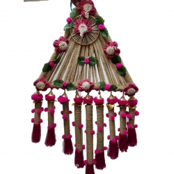 2 FT - Jute Hanging Triangle Latkan - Hanging Jhumar - Multi Color