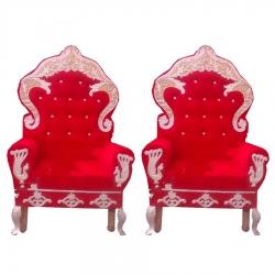 Red Color - Wedding Chair - Varmala Chari Set - Marriage Chair Set - Wedding Stage Chair - Mandap Chair - Made of Wooden & Metal - 1 Pair ( 2 Chair )