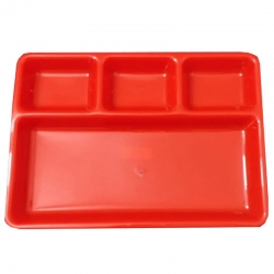 13 inch 4 -Compartments Divided-Dinner Plate - Made From Virgin Plastic Red Color.