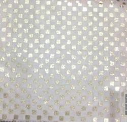 9MM Square Bharchak - Glitter Foil - 24 Gauge Brite Lycra - 54  Inch Panna - Square Tikli Work - Off White Color .