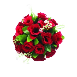 12 Inch - Artificial Plastic Hanging Flower Ball - Flower Decoration - Red Color