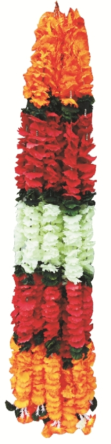 5 FT - Artificial Plastic Flower Garland Toran - Flower Ladi - Flower Decoration - Multi Color (1 Packet - 12 Pieces)