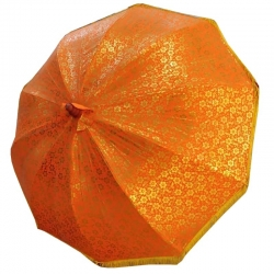 6 FT Diameter - Garden Umbrella Gold Finish Fancy Decorative Umbrella - Orange Color