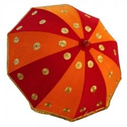 4 FT - Gold Finish Wedding Decorative Umbrella - Fancy Umbrella - Orange & Red Color