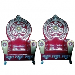 Wedding Reception Sofa - Varmala Sofa - Made Of Wood And Metal - Pair Of 1 (2 Pieces) Maroon Color .
