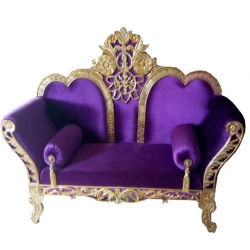 Purple Color - Regular - Couches - Sofa - Wedding Sofa - Maharaja Sofa - Wedding Couches - Made of Wooden & Metal