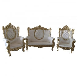 White Color - Heavy - Udaipur - Sofa Set - Wedding Sofa Set - Couches - Made Of Wooden & Brass Metal.
