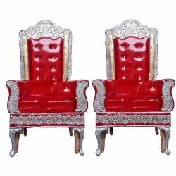 Red Color - Wedding Chair - Varmala Chari Set - Marriage Chair Set - Wedding Stage Chair - Mandap Chair - Made of Wooden & Metal - 1 Pair ( 2 Chair )