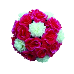 12 Inch - Artificial Plastic Hanging Flower Ball - Flower Decoration - Pink & White Color
