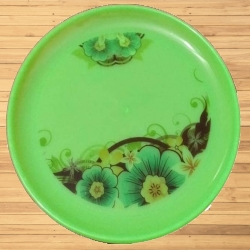 12 Inches Dinner Plates - Made Of Food-Grade Regular Plastic Material - Round Shape - Green Printed Plate.