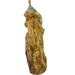 2 ft Hanging Fur / Lout-con / Wall Hanging / Sparkled Fur / Golden Color .
