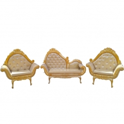 Heavy Wedding Sofa Set Ethinic Design - Set Of 3 (1 Two-Seater & 2 Single-Seater) Made Of Wood & Golden Color