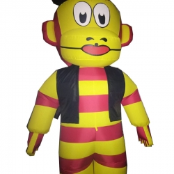 Monkey Cartoon Character Air Inflatable Indoor & Outdoor Walking - Made Of PVC Vinyl - Single Piece
