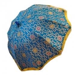 4 FT - Wedding Umbrella - Fancy Umbrella - Sky Blue & Golden