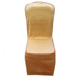 Ice Crush Heavy Quality Chair Cover With Piping & Embossed - Golden Color