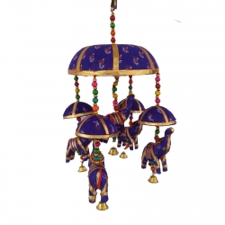 1.3 FT - Rajasthani Jhumar - Moti Work With Colorful Elephant - Wall Hanging - Multi Color