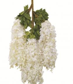 2 FT - Plastic Artificial Flower - Latkan - Flower Decoration - White Color (12 Piece Leaf)