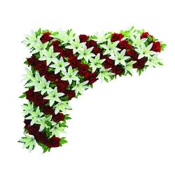 2 FT X 2 FT - Artificial Plastic Flowers Corner - Flower Panel - Flower Decoration - Red & White Color